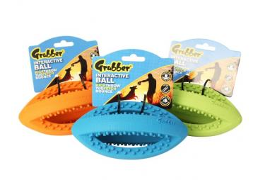 Happy Pet Grubber Interaktivní rugby míč S 19 cm