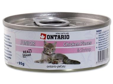 Ontario konzerva Junior Chicken Pieces+Shrimp 95 g