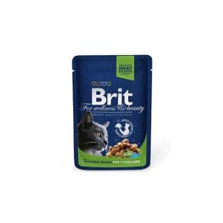 Brit Premium Cat Pouch with Chicken Slices for Sterilised 100 g